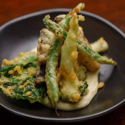 Tempura Battered Vegetables, Cauliflower Cream Puree